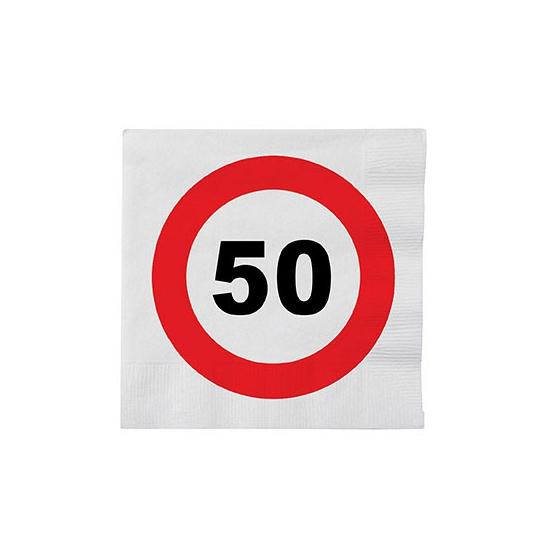 Stopbord servetjes 50 jaar 16 stuks Multi