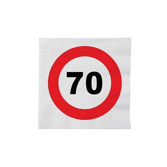 Stopbord servetjes 70 jaar 16 stuks Multi