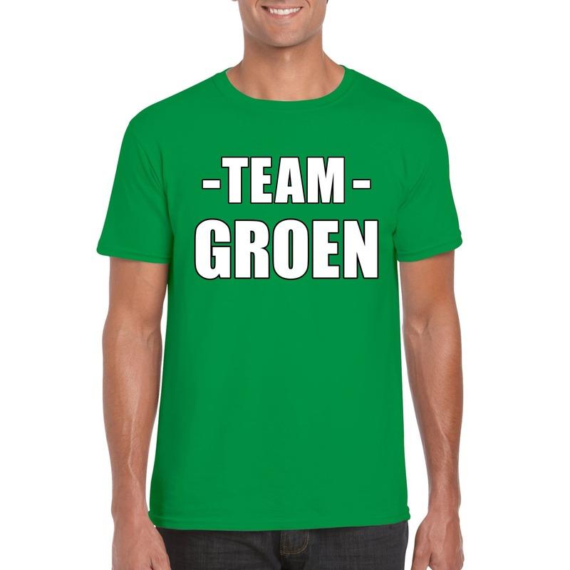Team groen shirt heren voor sportdag
