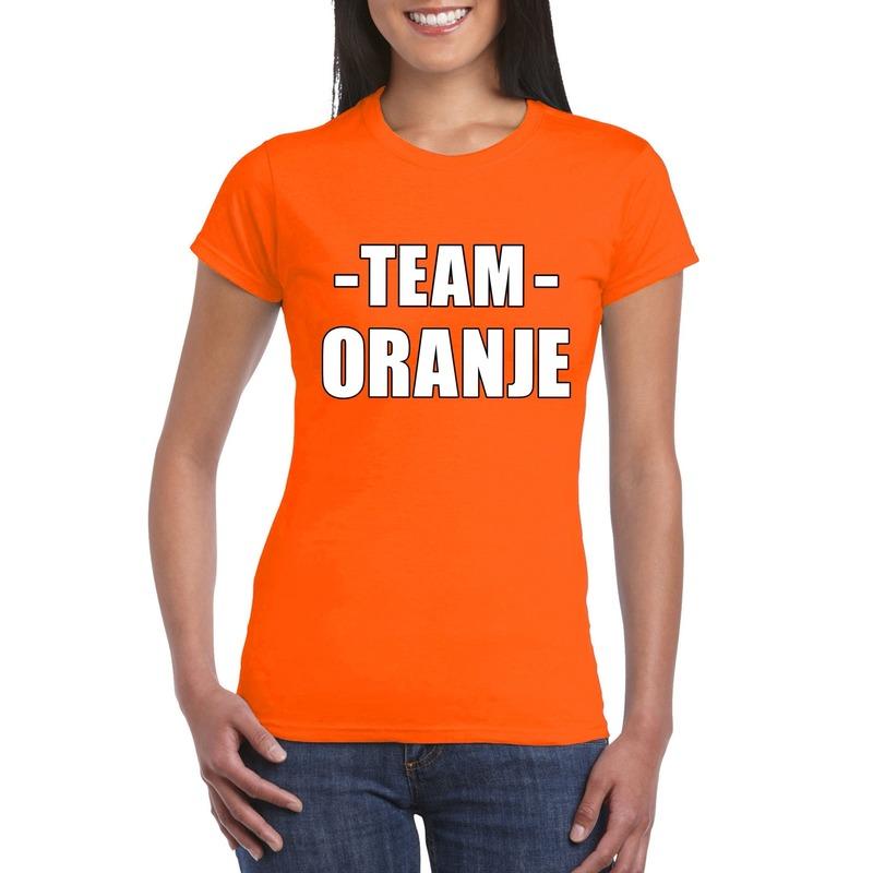 Team oranje shirt dames voor sportdag