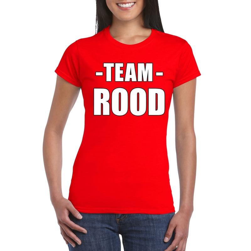 Team rood shirt dames voor sportdag