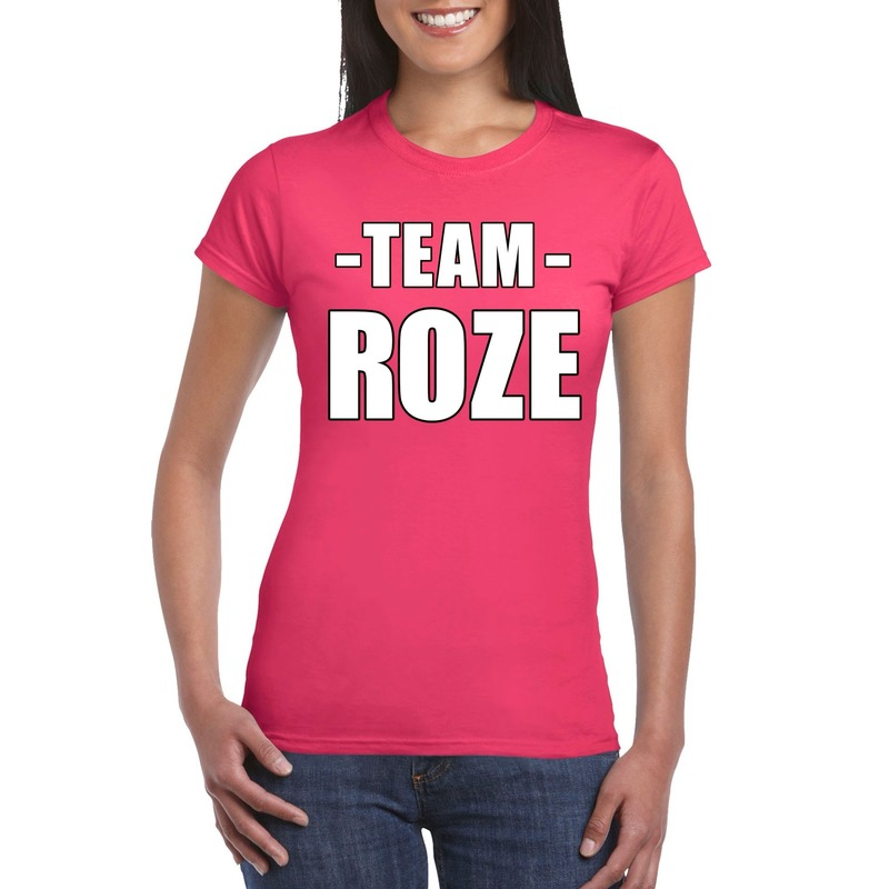 Team roze shirt dames voor sportdag