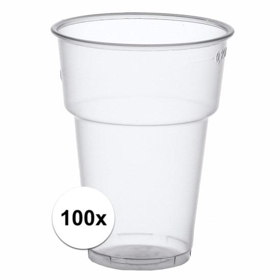 Transparante bierglazen plastic 100 stuks
