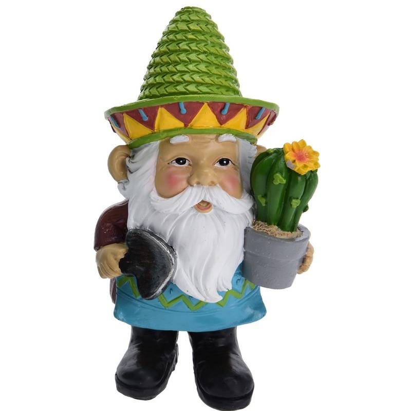 Tuinkabouter met groene sombrero 17 cm