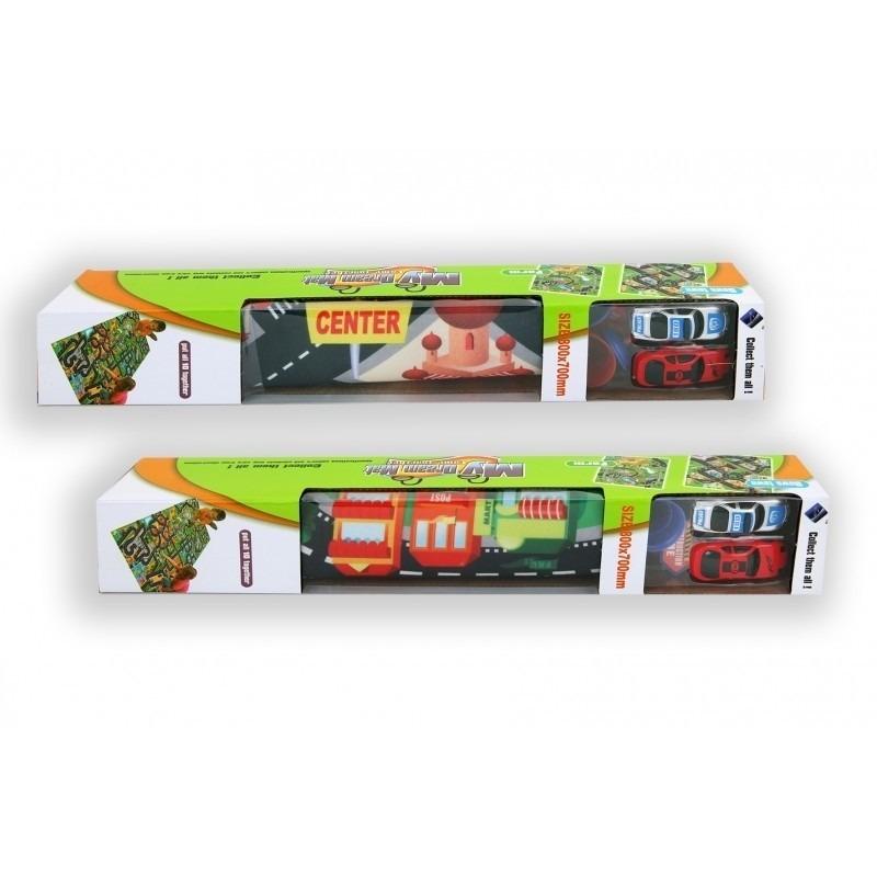 Twee autootjes met speelkleed City 80 x 70 cm Multi
