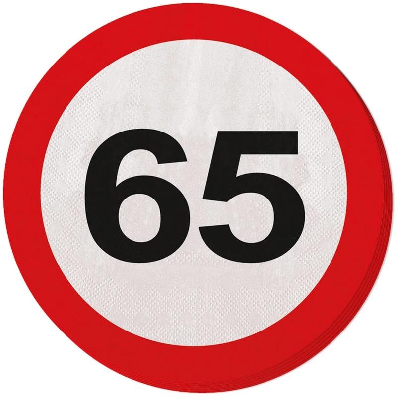 Verkeersbord servetten 65 jaar Multi