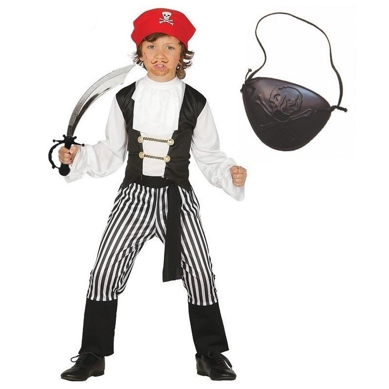 Verkleed piraten outfit voor kinderen maat 128-134 One size Multi