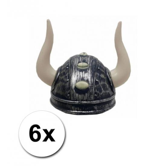 Viking helmen met twee hoorns 6 st