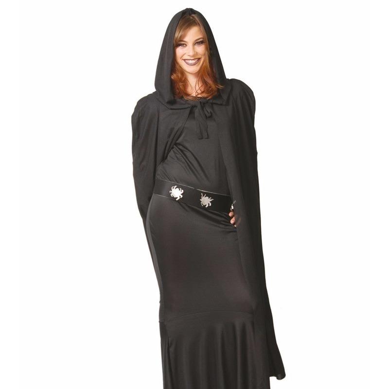 Voordelige zwarte mantel met capuchon 135 cm One size Zwart