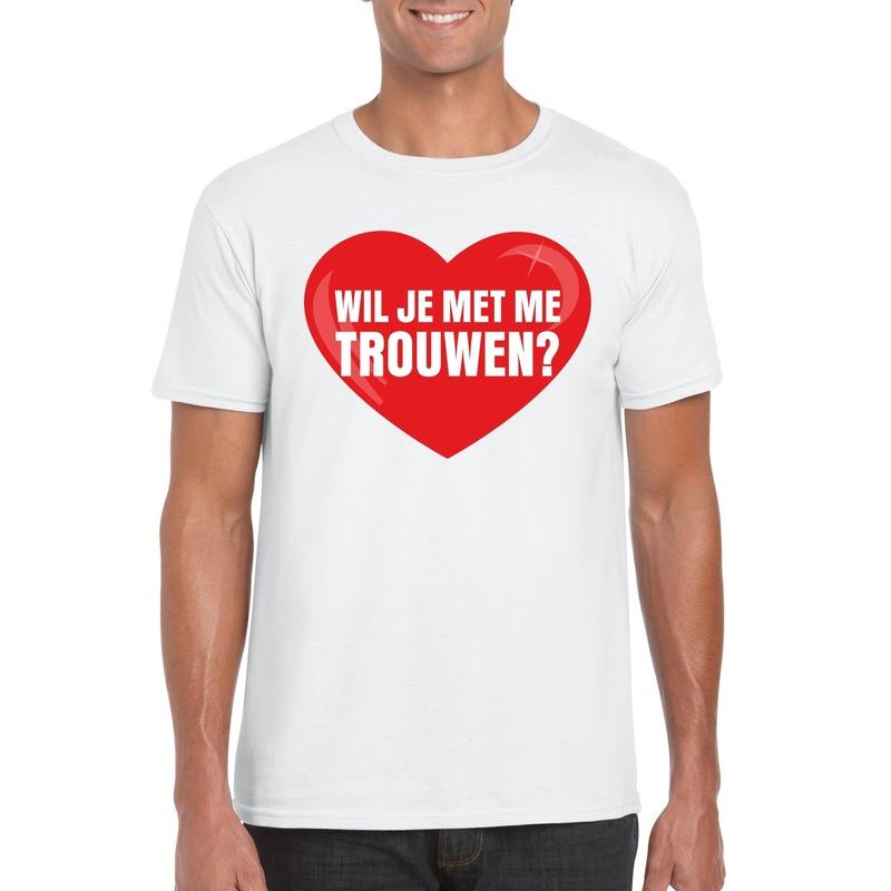 Wil je met me trouwen shirt voor huwelijksaanzoek wit heren