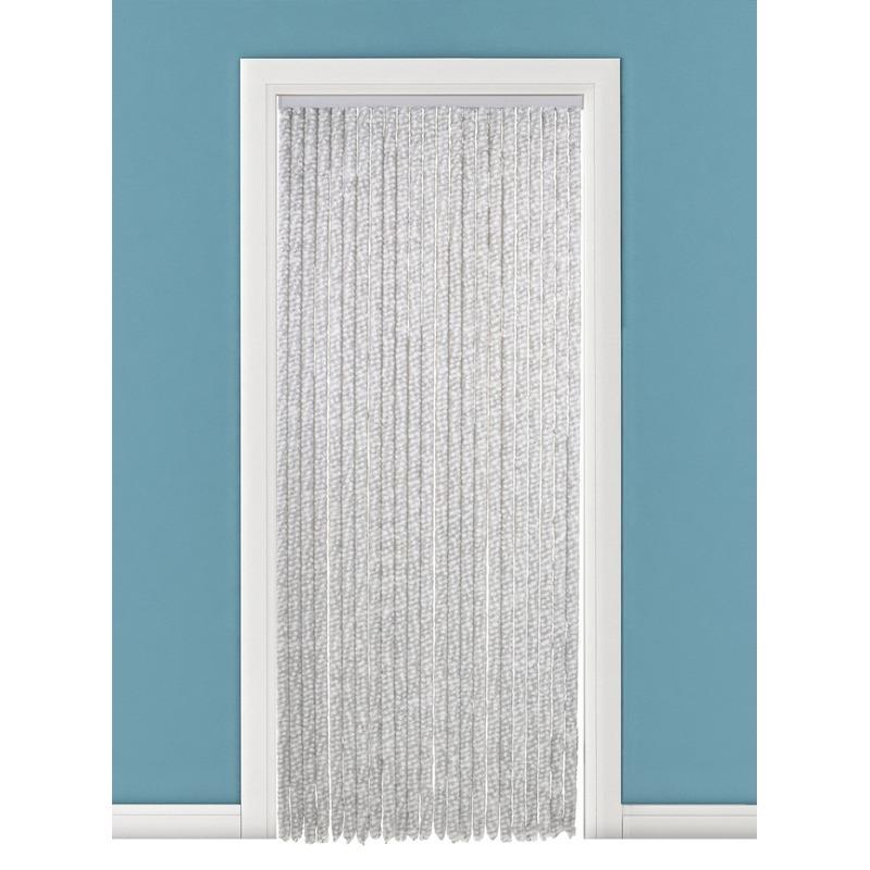 Wit/grijs anti insecten kattenstaart gordijn 90x220 cm