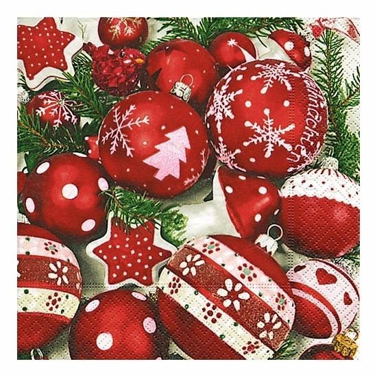 Witte kerst servetten met kerstballen 20 stuks Multi