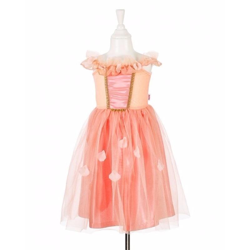 Zalm roze prinsessenjurk met kant