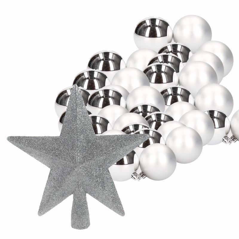 Zilver kerstboom versiering set 36 kerstballen en kerstster piek