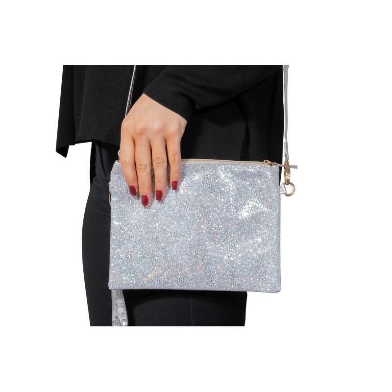 8cd57e71ed4 Zilveren feest schoudertasje met glitters | Fun en Feest