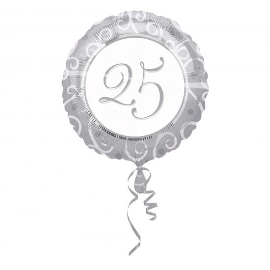 Zilveren helium ballon met 25