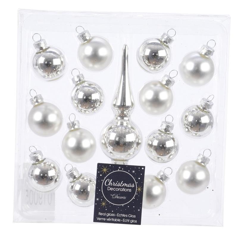 Zilveren kerstballen en piek set voor mini kerstboom Zilver