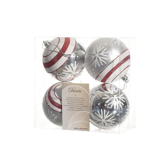Zilveren kerstballen sneeuwvlok 4 stuks