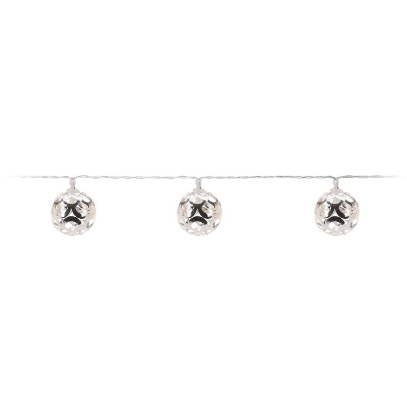 Zilveren kerstverlichting lichtsnoer LED ballen aan 130 cm Zilver