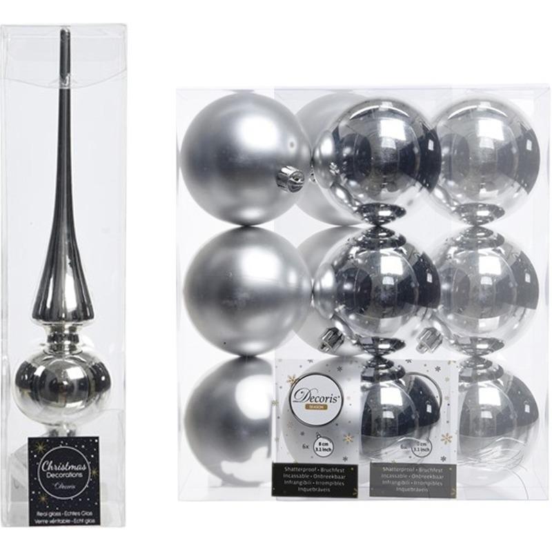 Zilveren kerstversiering/kerstdecoratie set piek en 12x kerstballen 8 cm glans/mat