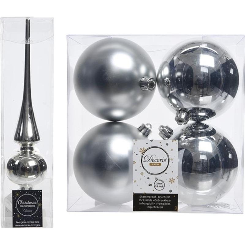 Zilveren kerstversiering/kerstdecoratie set piek en 4x kerstballen 10 cm glans/mat