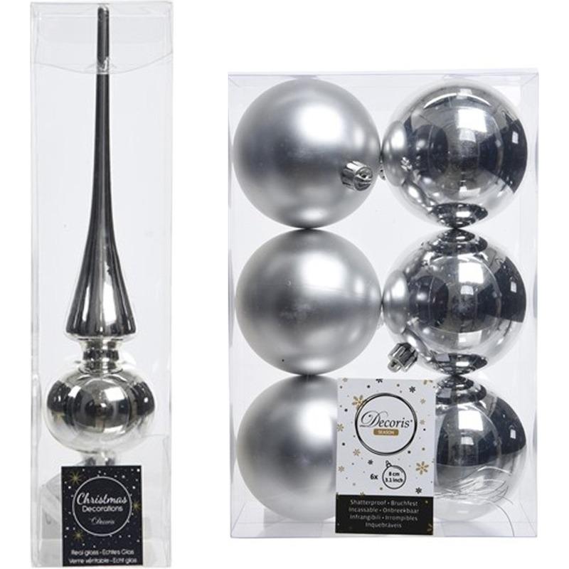 Zilveren kerstversiering/kerstdecoratie set piek en 6x kerstballen 8 cm glans/mat
