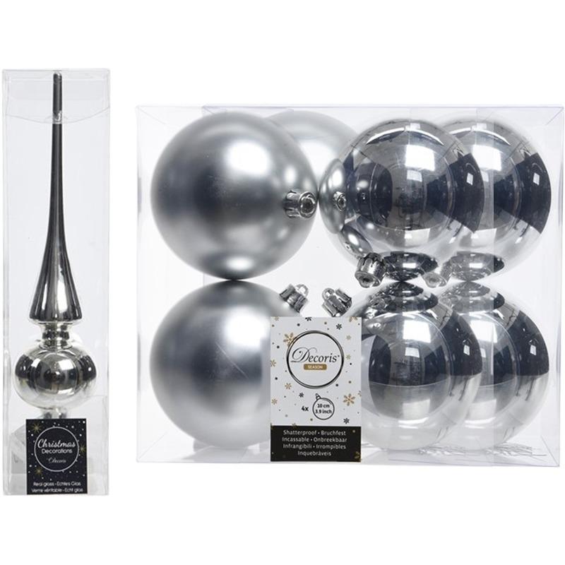 Zilveren kerstversiering/kerstdecoratie set piek en 8x kerstballen 10 cm glans/mat