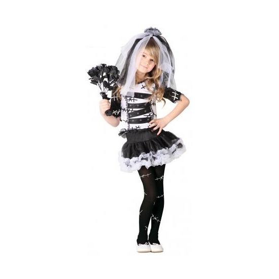 Zombie bruid meisjes kostuum zwart wit 128-134 (7-9 jaar) Zwart