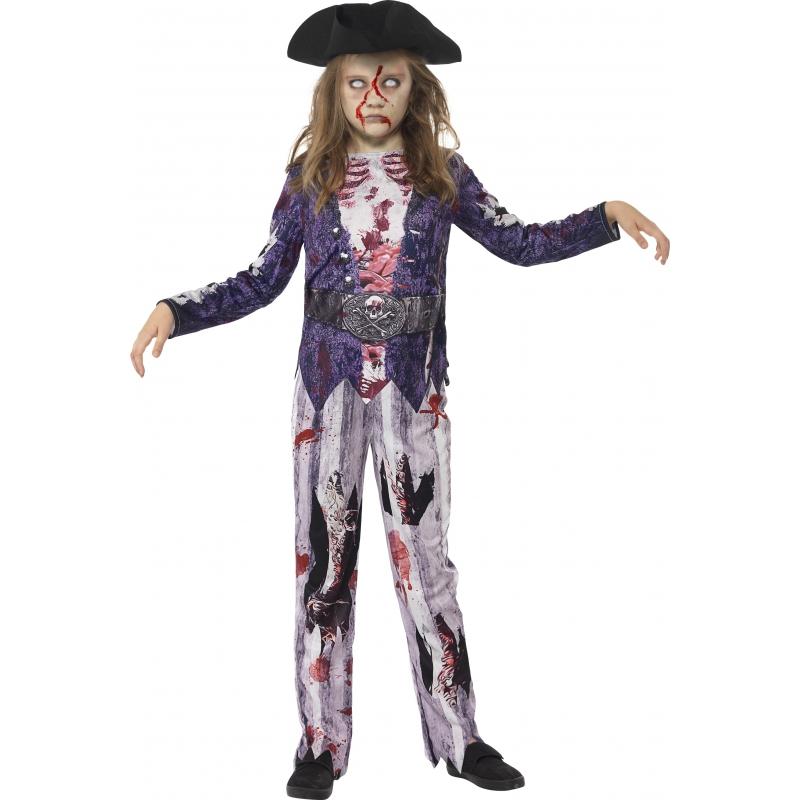Zombie piraat pak voor meiden 145-158 (10-12 jaar)