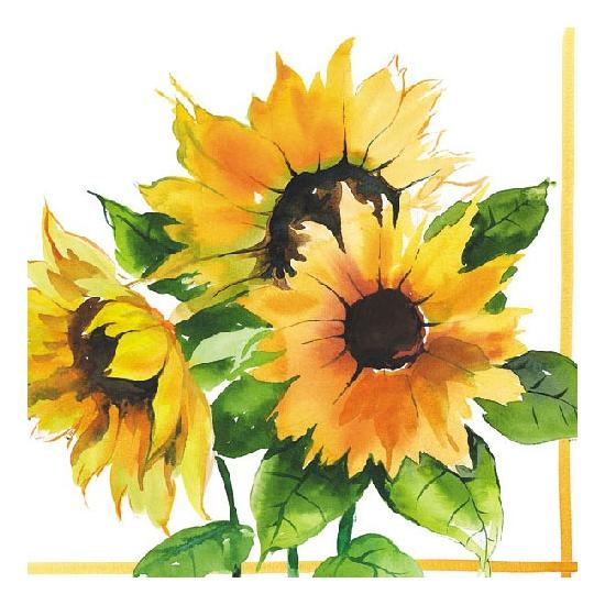 Zonnebloemen servetjes 20 stuks Multi