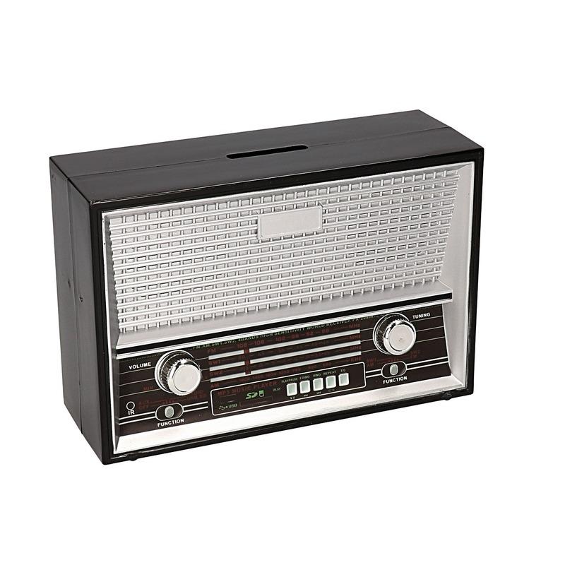 Zwarte retro radio spaarpot 18 cm