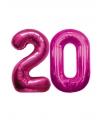 Verjaardag ballonnen 20 jaar roze