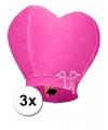 3 hartvormige wensballonnen roze 100 cm
