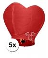 5 hartvormige wensballonnen rood 100 cm