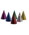6x gekleurde feesthoedjes