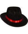 Al Capone hoed zwart met rode band