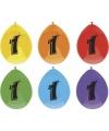 Gekleurde ballonnen 1 jaar 6 stuks