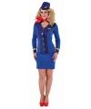 Blauw stewardessen uniform voor dames 40 (L) Blauw