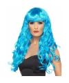 Damespruik blauw lang haar