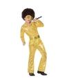 Budget disco pailletten pak goud voor jongens 128 (7-9 jaar) Goudkleurig