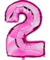 Roze ballon cijfer 2