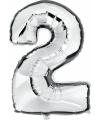 Zilveren ballon cijfer 2