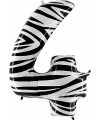 Zebra ballon cijfer 4