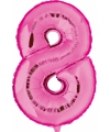 Roze ballon cijfer 8