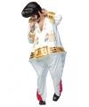 Compleet dikke popster kostuum voor heren Onesize (M-XL) Wit