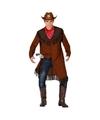 Cowboy jas en sjaal voor heren M/L Bruin