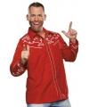 Cowboy western blouse rood voor heren 56 (2XL) Rood