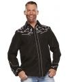 Cowboy western blouse zwart voor heren 58 (3XL) Zwart