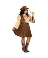 Cowgirl kostuum voor dames plus size XL (42-44) Bruin