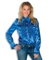 Dames rouche overhemd blauw 42 (XL) Blauw